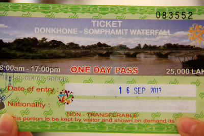 Entrance ticket to Li Phi Falls