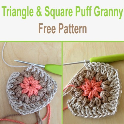 Triangle and Square Puff Granny Free Pattern