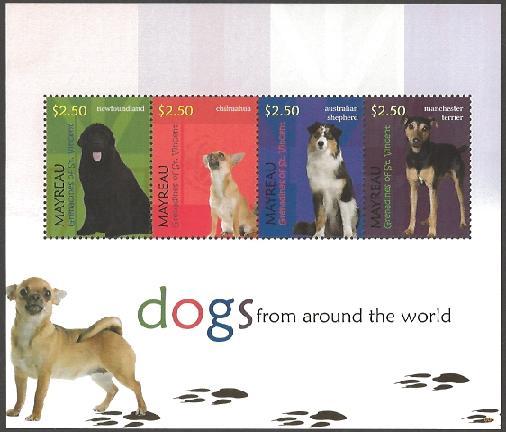 2010年セントビンセント・グレナディーン諸島 ニューファンドランド チワワ オーストラリアン・シェパード マンチェスター・テリアの切手シート