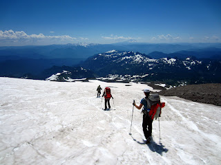 Descending the Muir snowfield.