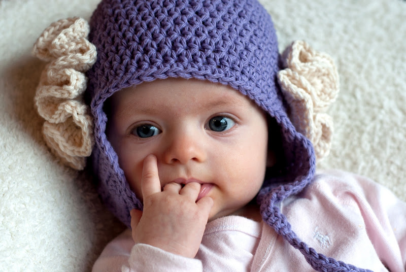 Crochet Earflap Hat : Aesthetic Nest: Crochet: Ruffled Rose Earflap Hat for Baby (Pattern)