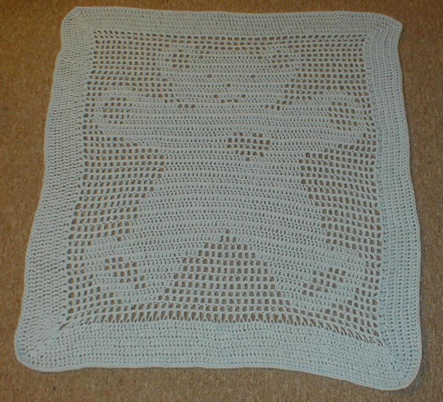 Free Teddy Bear Filet Crochet Afghan Pattern : Karens Crocheted Garden of Colors: Teddy Bear Filet Baby ...