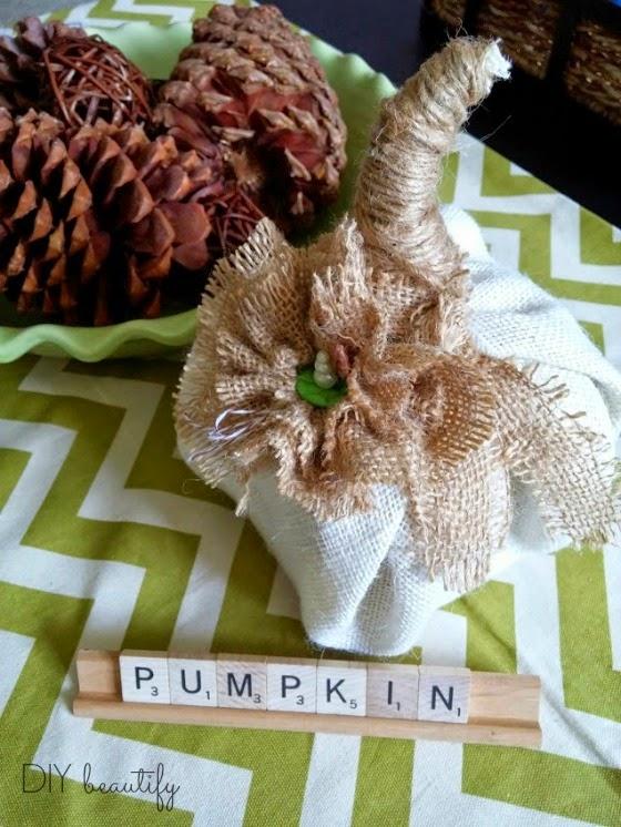 make a pumpkin from florist foam and burlap www.diybeautify.com #pumpkin #diy #burlap