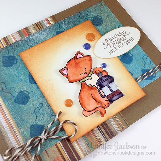 Birthday Cat and Coffee Card by Jennifer Jackson  | Newton Loves Coffee stamp set by Newton's Nook Designs #newtonsnook #coffee