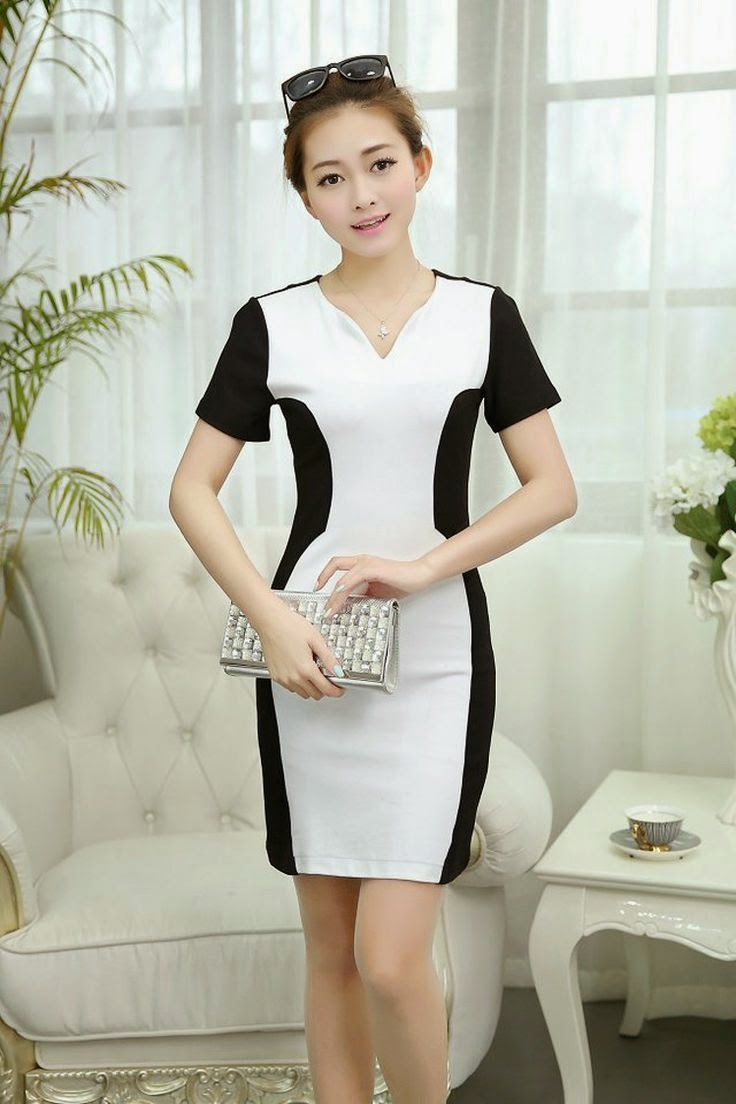 V collar bodycon dress, short sleeve dress ghl1019