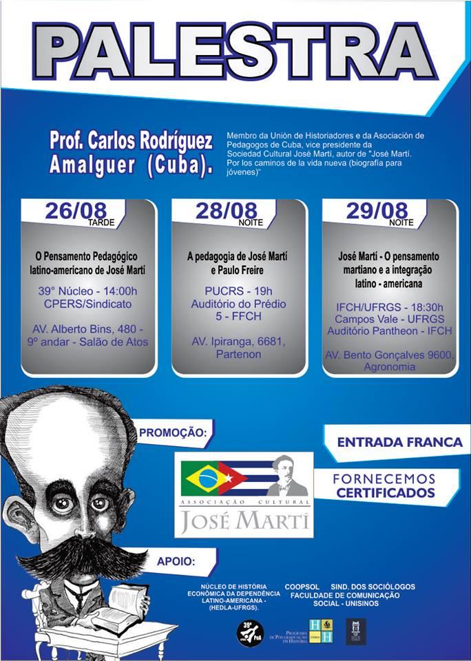 Palestras sobre o Pensamento de José Martí em Porto Alegre