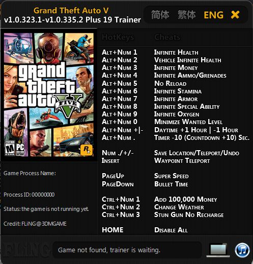 Cheat Trainer GTA V Plus 19 Trainer