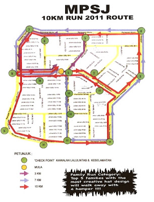 MPSJ 10km Run 2011 route map
