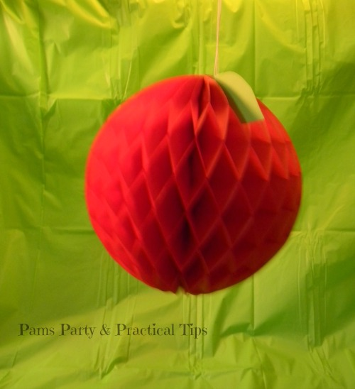 Hanging apple decoration made with paper honeycomb ball