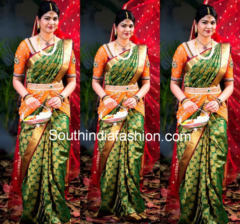 south indian bridal saree  blouse designs
