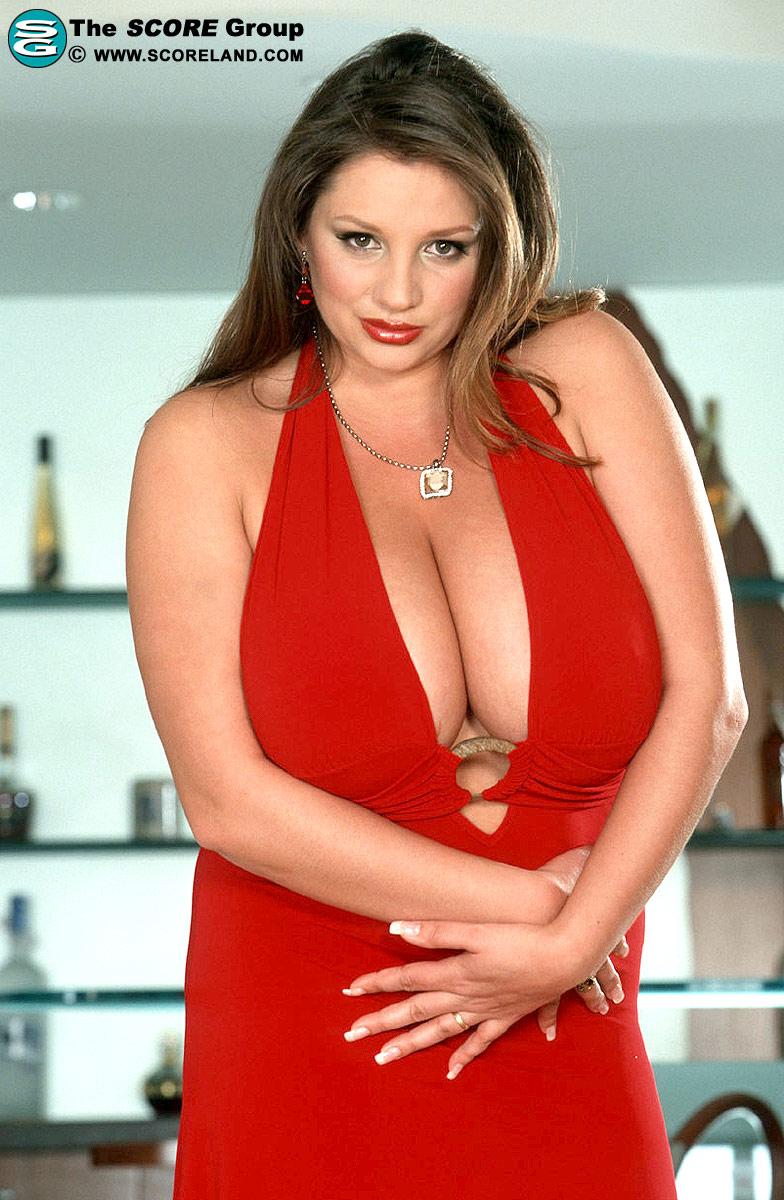 Biggest Boobs: 49J Nadine Jansen - sexy red dress