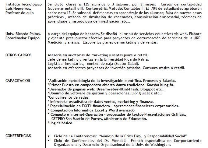 Asesoria Gestión Educativa y Gestión Empresarial: Curriculum Vitae
