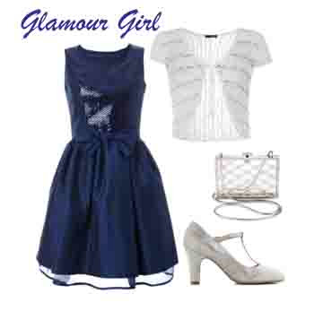 Navy dress, silver shoes, bag and shrug