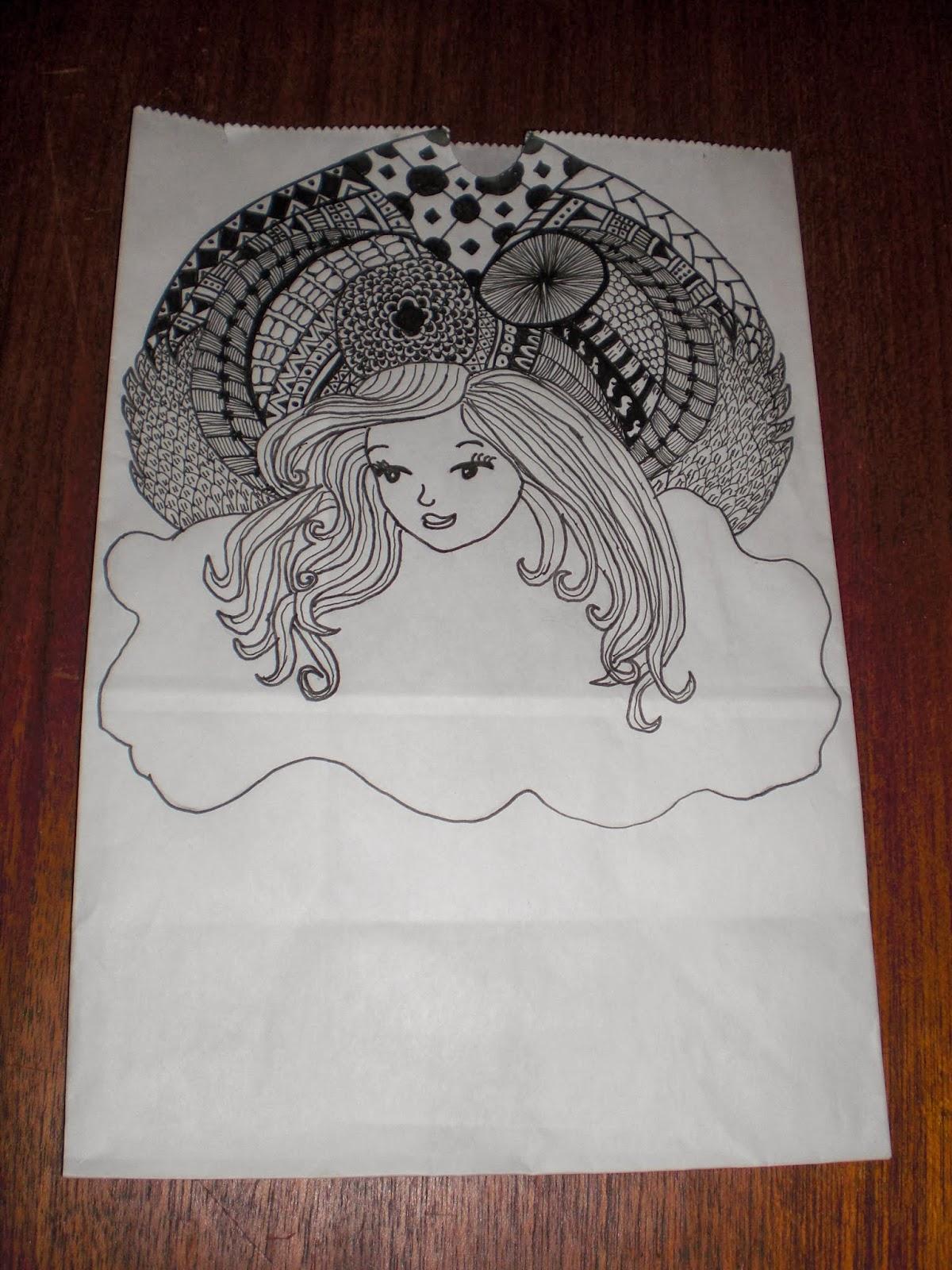 Zentangle krusedulle tegnet på lyspose for Kræftens Bekæmpelse