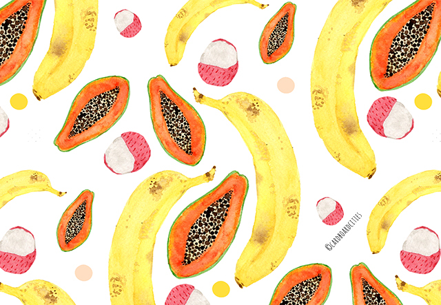pattern with banana lychee and papaya on white background painted with watercolours