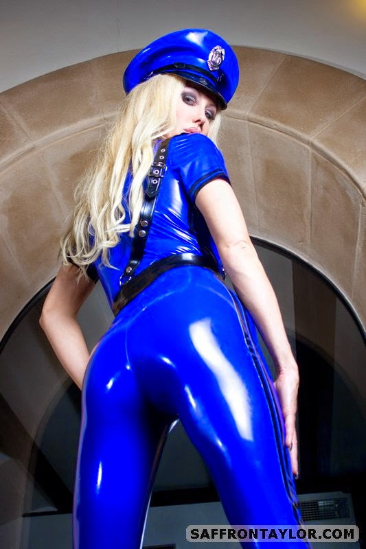 Sexy Shiny Ass in Blue Latex Catsuit Saffron Taylor is Sexy Cop Best Police Catsuit Ever