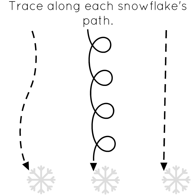 Snowflake Path on preschool prewriting practice letter a