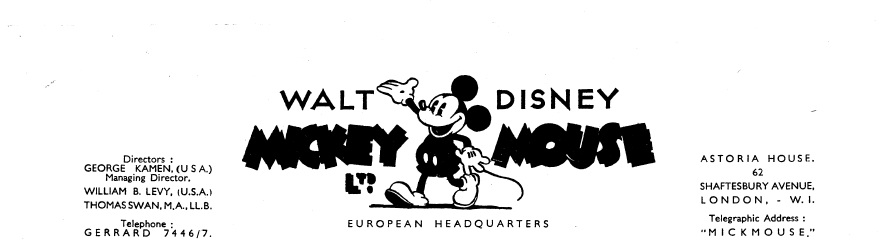 Disney history march 2012 among various kamen related papers uncovered recently was this fascinating letterhead from the english mickey mouse ltd may 1937 what makes this voltagebd Choice Image