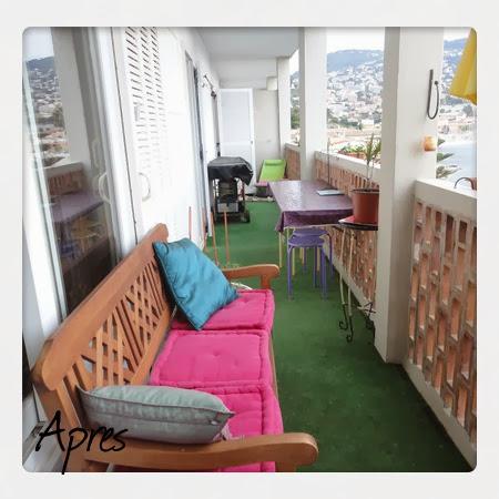 balcon, décoration, gazon, coloré