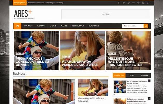 Ares Responsive Theme Blogspot tin tức đẹp 2014