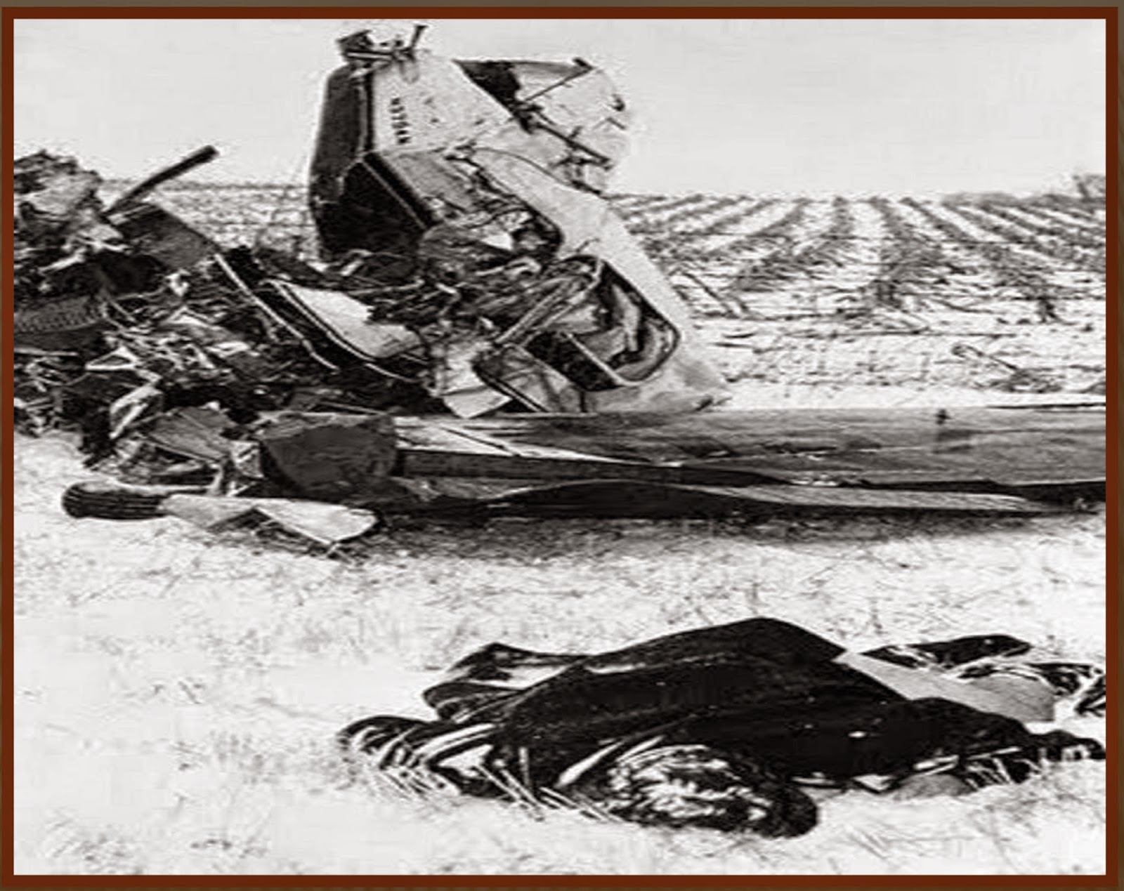 February 3, 1959. Ritchie Valens lies in the foreground, Buddy Holly is Buddy holly plane crash photos