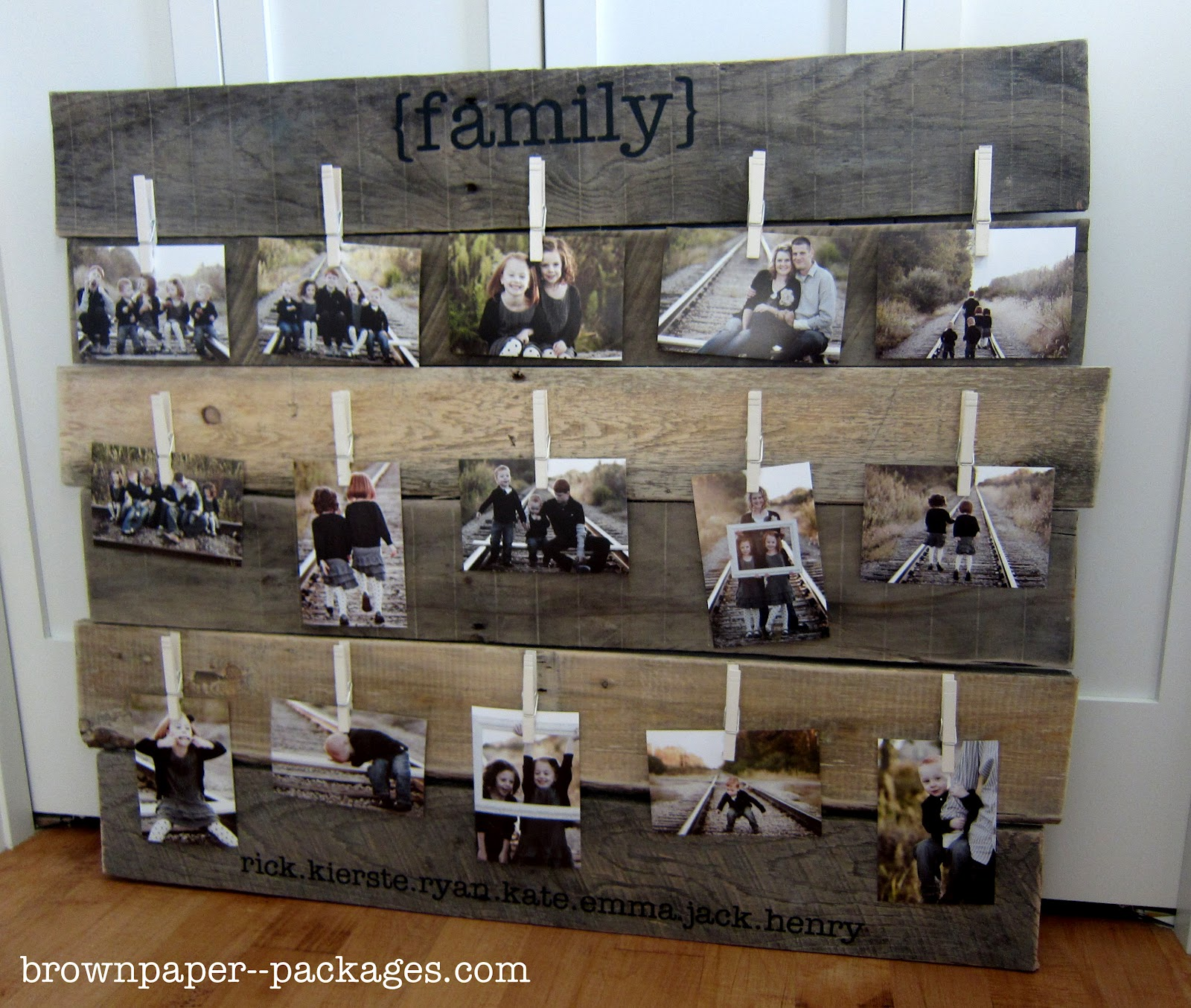 Wood pallet photo display for Picture frame with clips diy