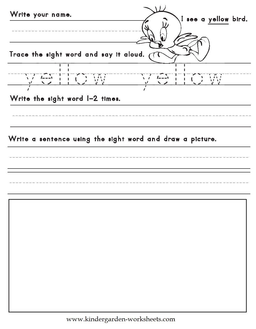Kindergarten Worksheets Color Words Worksheets Yellow – Color Words Worksheets