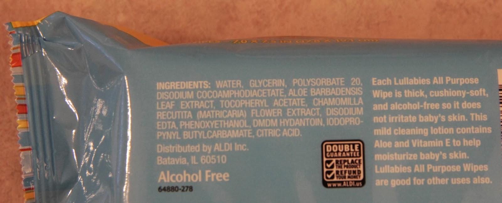 Aldi Lullabies Baby Wipe Ingredients