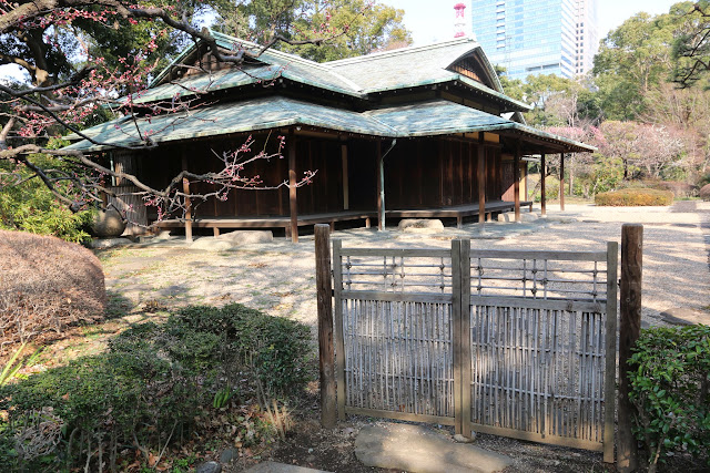 The oldest Suwa Tea Pavilion can be seen at the far end of the Japanese garden and pond at Imperial Palace East Garden in Tokyo, Japan