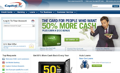 Capital One homepage