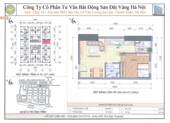 Chung cư Đại Thanh CT10 47,31m2