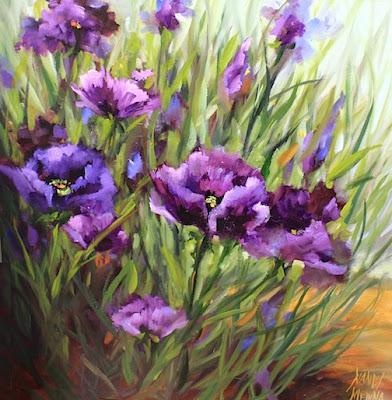 purple poppy flower garden painting by texas artist nancy medina - Simple Flower Garden Paintings
