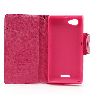 Leather Case Wallet With Credt Card Slot Sony Xperia L S36h C2104 C2105 - Magenta