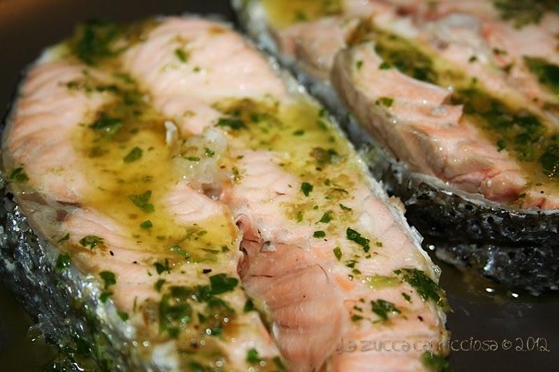 La zucca capricciosa tranci di salmone al vapore con salsa ai capperi - Ricette con forno a vapore ...