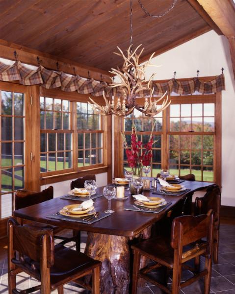 Дизайн кухни загородного дома с барной стойкой