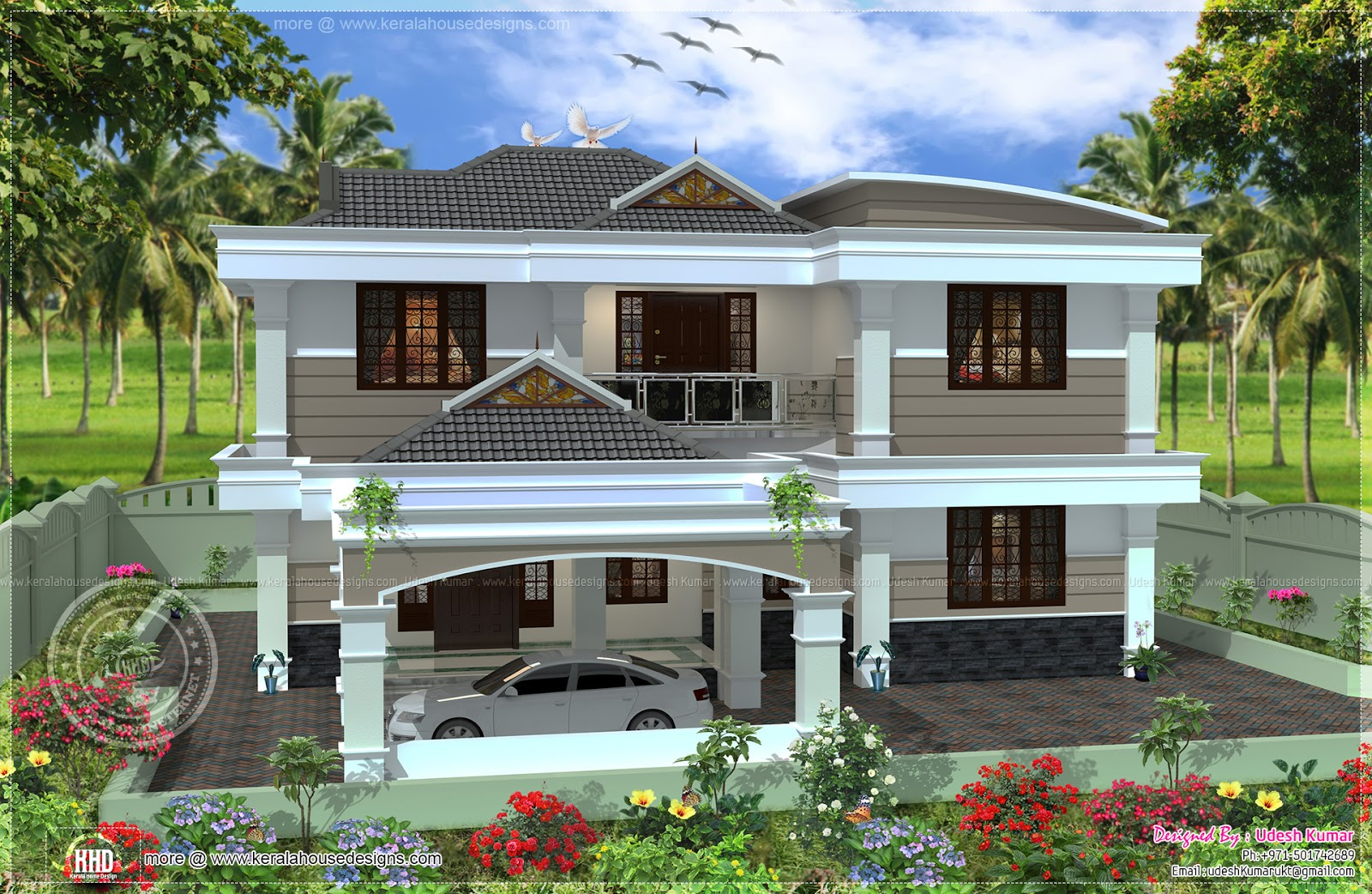 255 square yards double storied house design home kerala