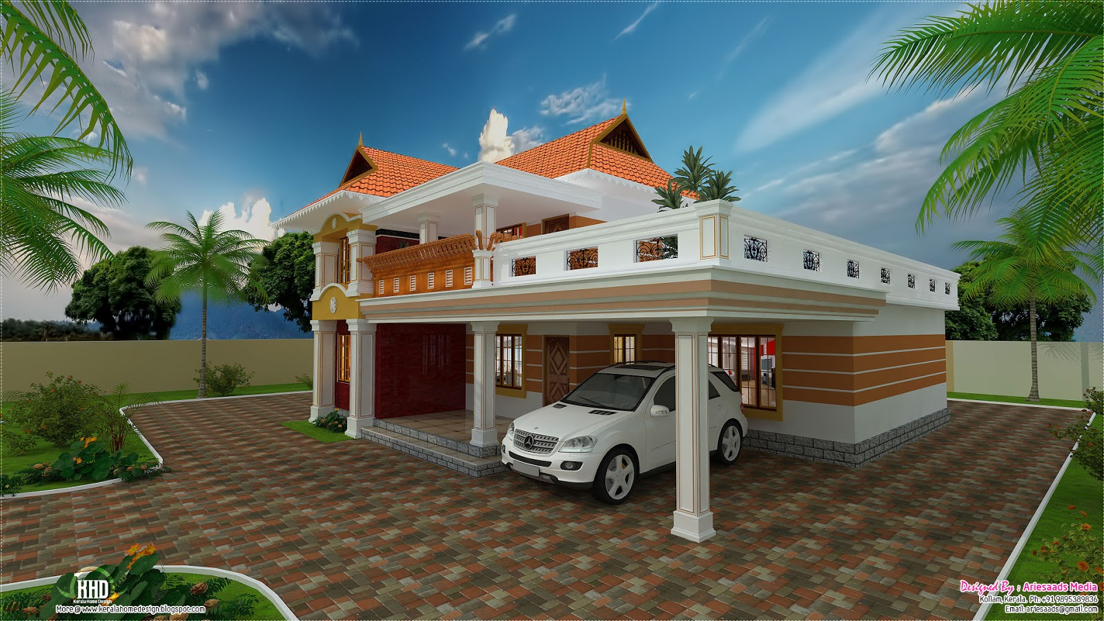 2700 beautiful villa design kerala home for Beautiful villa design
