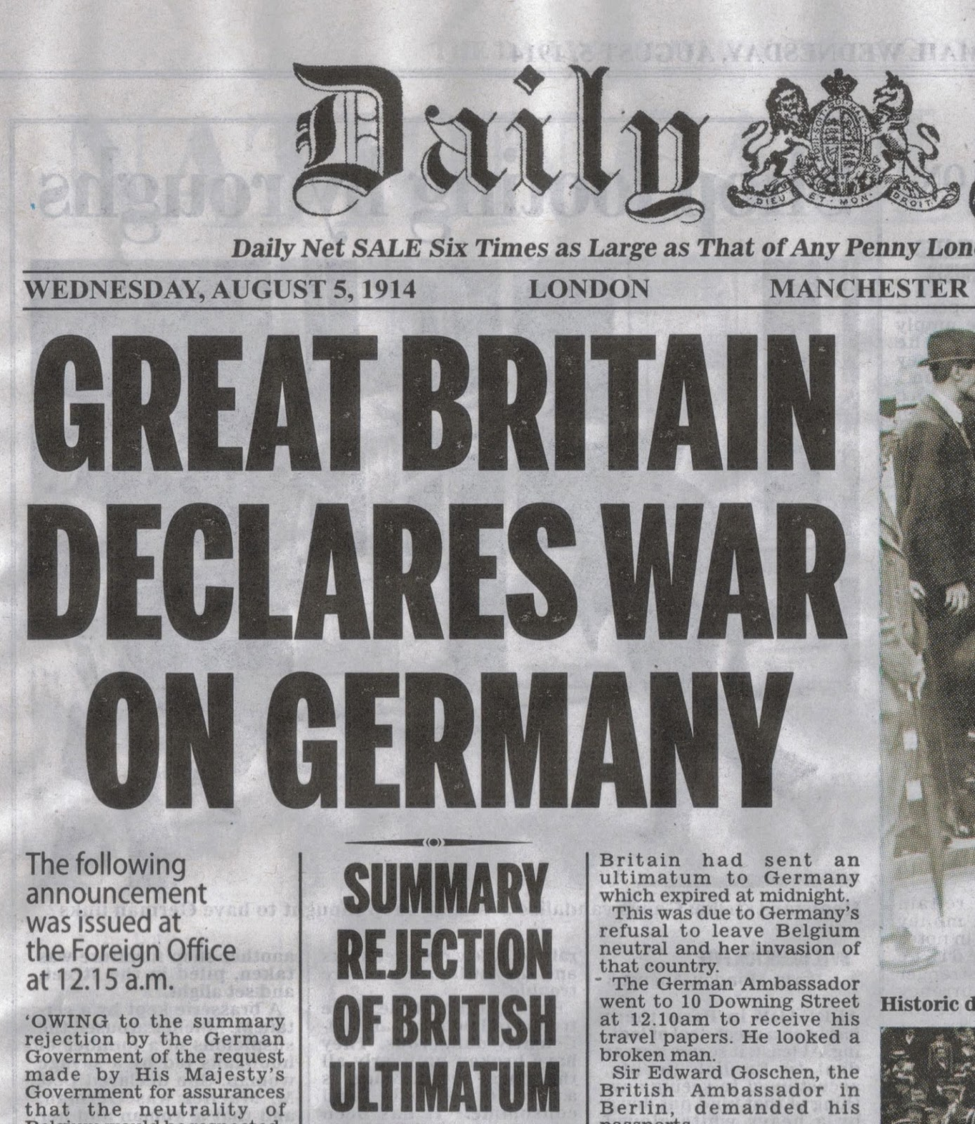 Newspaper headlines, start of world wasr 1
