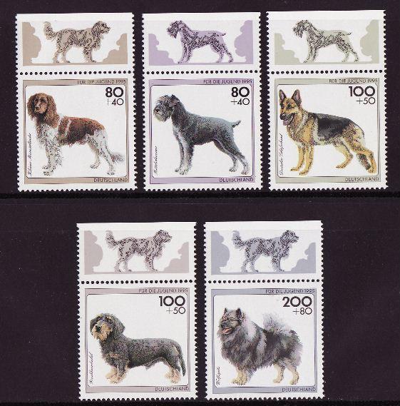 1995年ドイツ連邦共和国 ラージ・ミュンスターレンダー シュナウザー ジャーマン・シェパード ダックスフンド ウルフスピッツの切手
