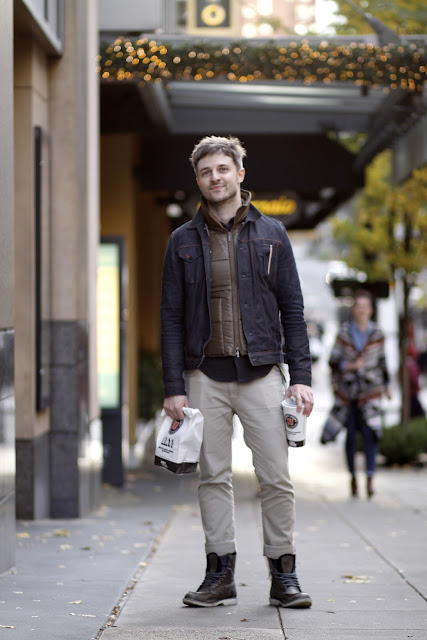 Justin Abbott Nordstrom Men's Shop Daily Blogger Timberland Earthkeeper grey puffy vest seattle street style fashion