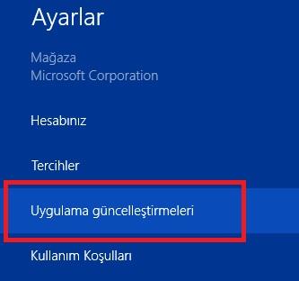 Windows 8.1 uygulama güncelleme