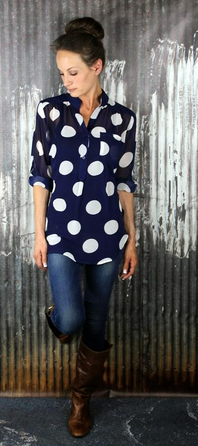 Navy Polka Dots with Casual Look and Brown Leather Knee Booties