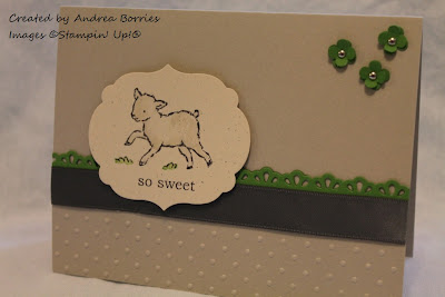 "Gender-neutral baby card with the image of a lamb and the greeting ""so sweet."""