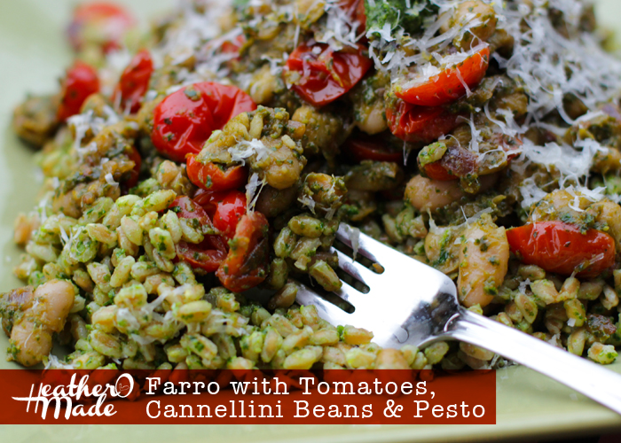 Farro with Tomatoes, Cannellini Beans & Pesto. recipe. heatheromade.