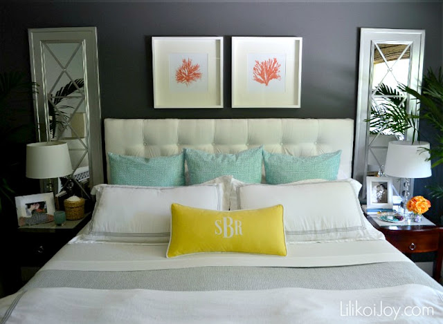 Colorful coastal master bedroom makeover