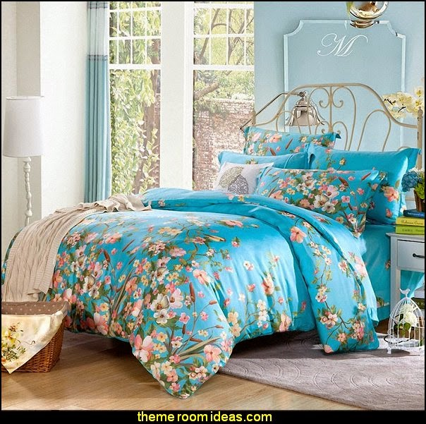 Classic Blue Rural Flowers Duvet Cover Sets