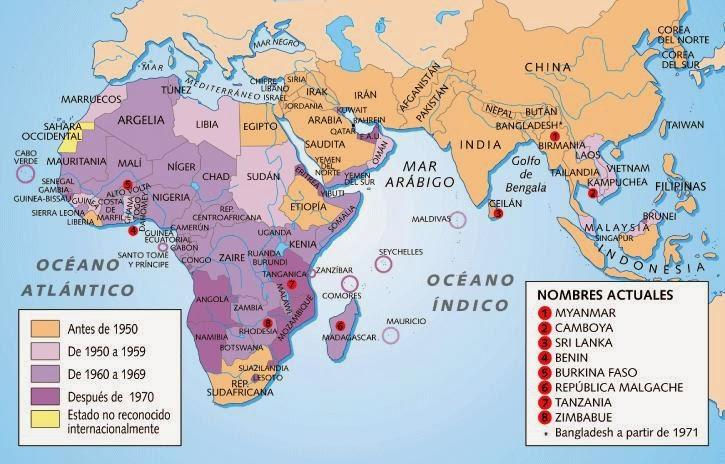Clases de Ciencias Sociales Mapas de la Descolonizacin