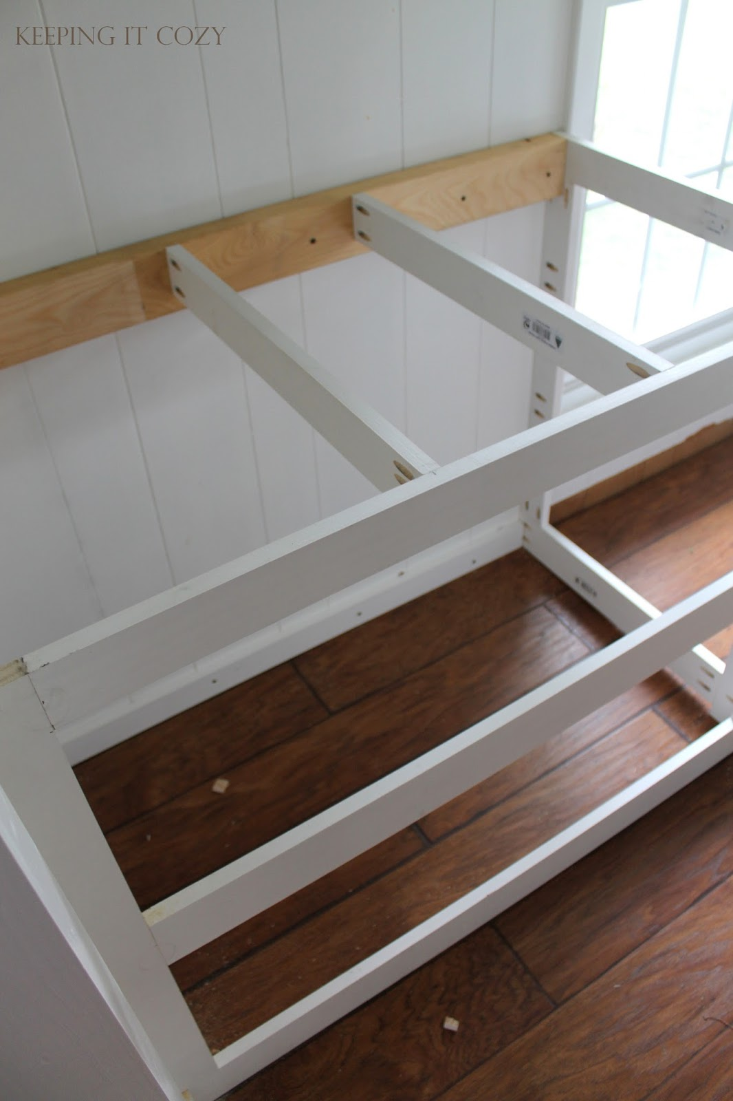 Keeping it cozy kitchen cabinet and countertop update for Building kitchen cabinets with kreg jig