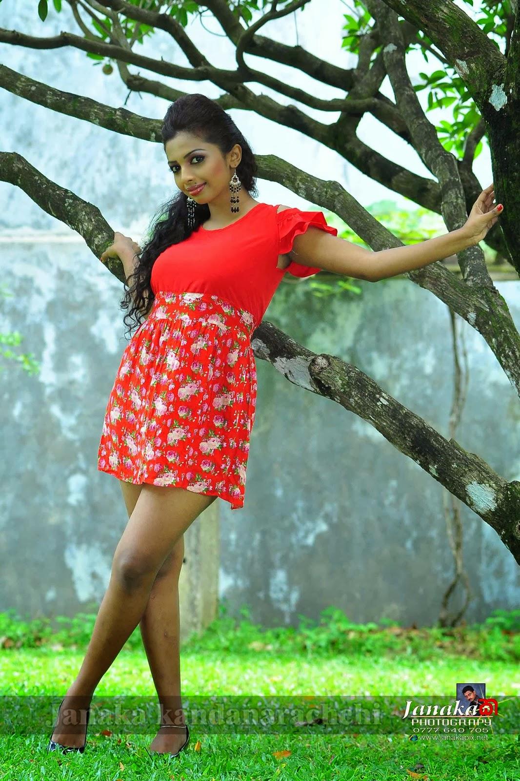 Lakshika Jayawardhana red hot mini dress
