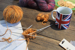 knitting in progress with DT Craft and Design alpaca wool nylon DK yarn in shade 'Gingernut'